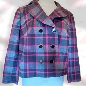NWT- 1X Cropped pea coat style jacket- gray/pink